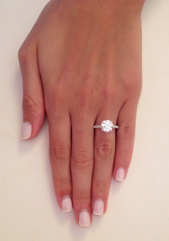 2 38 ct round cut d si1 diamond solitaire engagement ring 14k white gold ebay - Round Wedding Rings