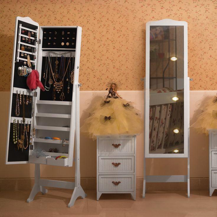 songmics 158 x 41 x 38 cm armoire bijoux rangement avec miroir et cls - Miroir Range Bijoux