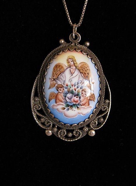 Vintage Sterling Silver & Enamel Hand Painted Angel Pendant Necklace, $79.00