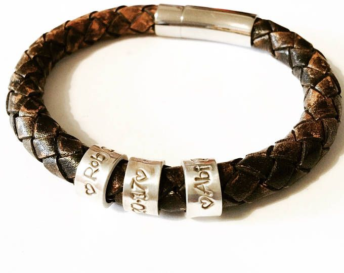 Mens Leather Bracelet, Personalised Mens Bracelet, Fathers Days Gift, Personalised Silver Name Bead, Mens Bracelet, Custom Bracelet, Dad