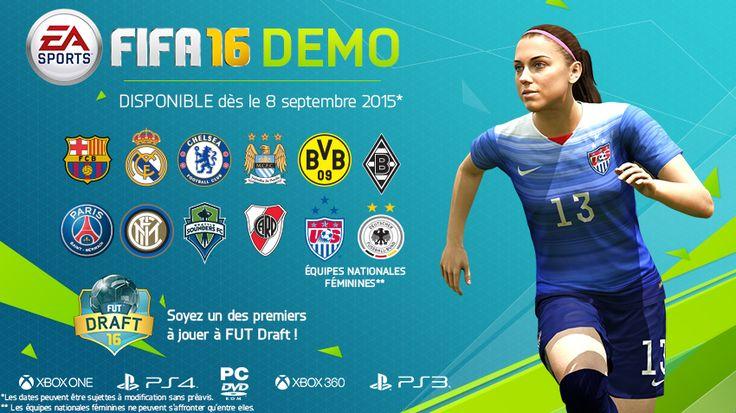 Après avoir tester le dernier Pro Evolution Soccer vous avez envie de voir ce que donne Fifa 16 ? Et bien vous en aurez l'occasion bientôt puisque Electronic Art vient d'annoncer que la démo du jeu sera mise en ligne dès le 8 Septembre prochain sur les consoles Current et Next-Gen et aussi sur PC. Dans la suite de l'article, vous pourrez découvrir ce qu'il sera possible de faire dans cette démo du jeu.