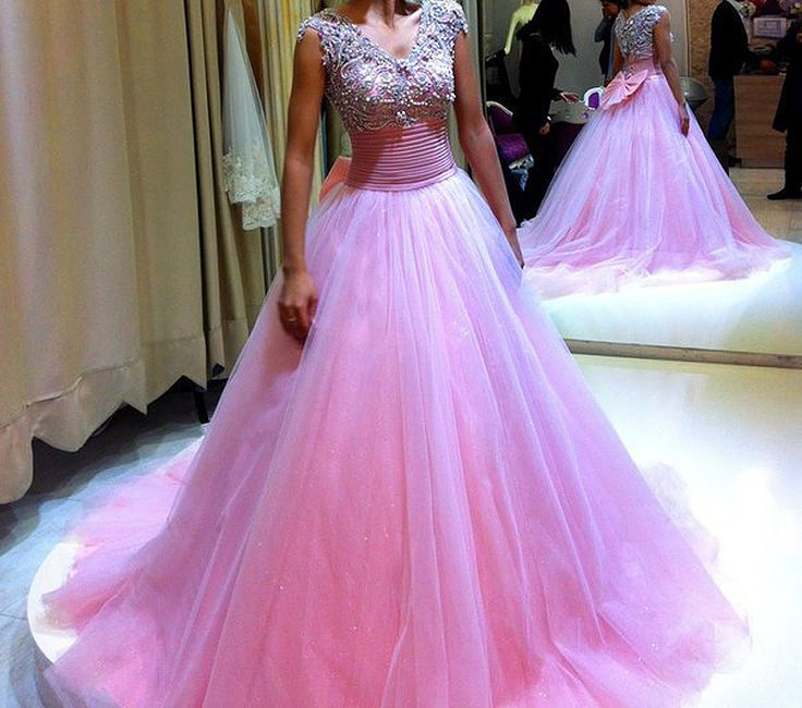 Beaded Lovely Hot Pink Ball gown with bow tie 2016 Sexy v neck prom dresses tulle vestidos de festa custom made party dress