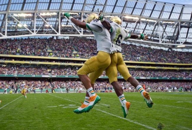 The Irish took over Dublin for the Emerald Isle Classic against Navy at Aviva Stadium Sept. 7, 2012. Final score: Notre Dame 50, Navy 10!