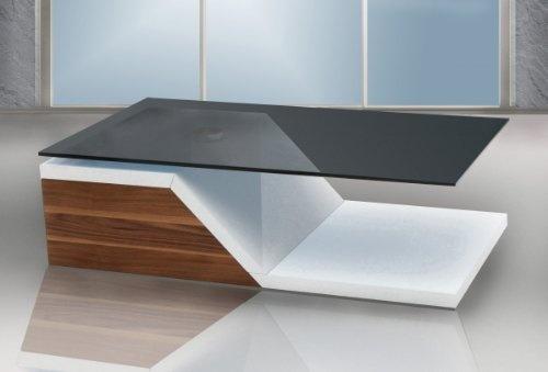 Couchtisch FineBuy 2 Step 120 cm Drehbar Holz / Glas in Weiß / Walnuss Hochglanz | Moderner Couchtisch