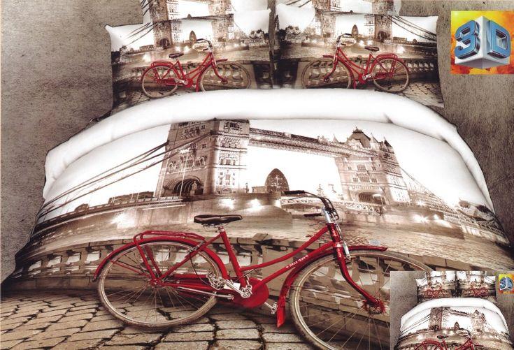 Pościel beżowa z motywem miasta Paryż i czerwonym rowerem