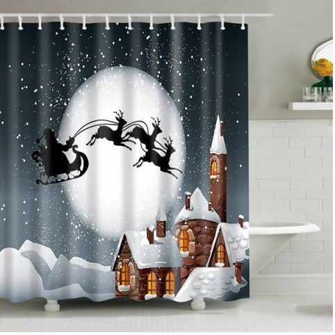 Christmas Eve Waterproof Fabric Shower Curtain, ECA Listing By Wedding Party Store NORA, Macedonia