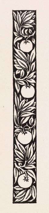 Wood Engraving - Love is Enough - narrow Band of Ornament with Apples and Foliage - This design was intended for use with William Morris' metrical romance 'Love is Enough', which dates from 1871-72. Morris designed & cut the pattern himself. - Birmingham Museums