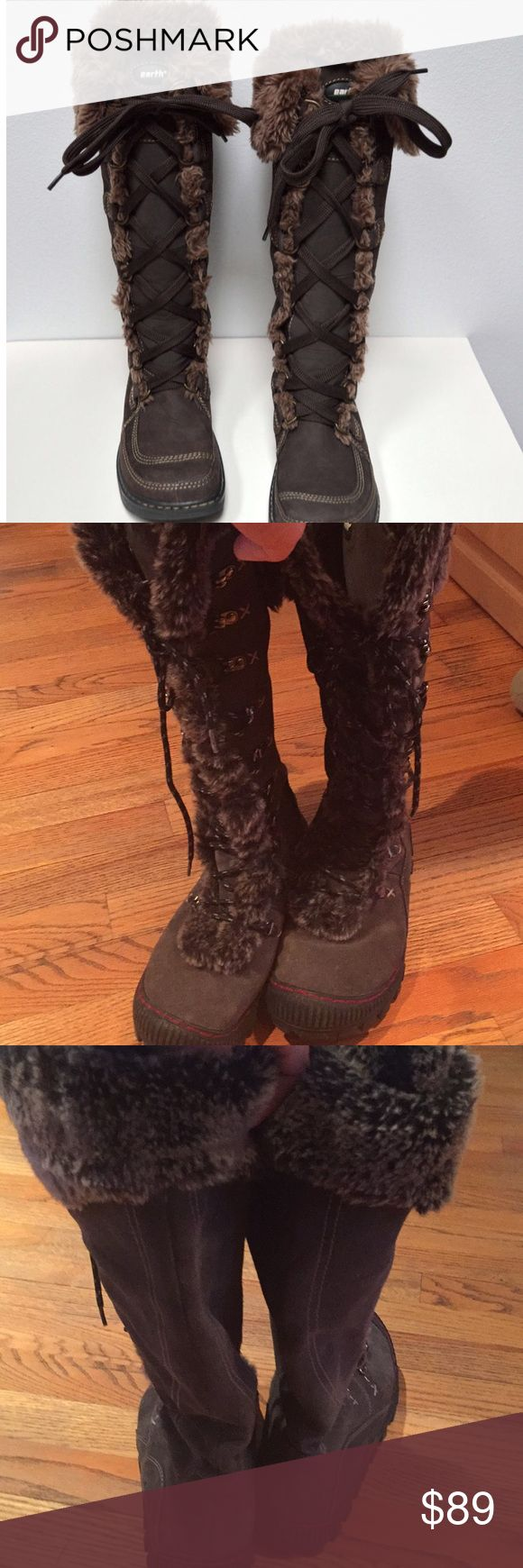 Like NWOT Earth Summit knee high lace up 7 boots Earth Summit Super warm amazing winter boots like new( warm 2x). Charcoal grey ( pic 3 better reflects color) exterior suede and fleece lined and upper faux fur accents! Wore 2x but too small. Originally $200, yours for a fraction! Earth Shoes Lace Up Boots