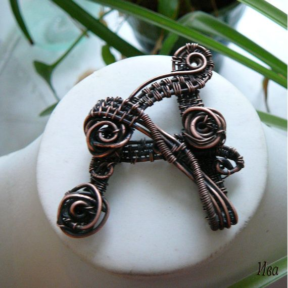 Copper wire wrapped pendant  letter A by wireIVAart on Etsy, $45.00