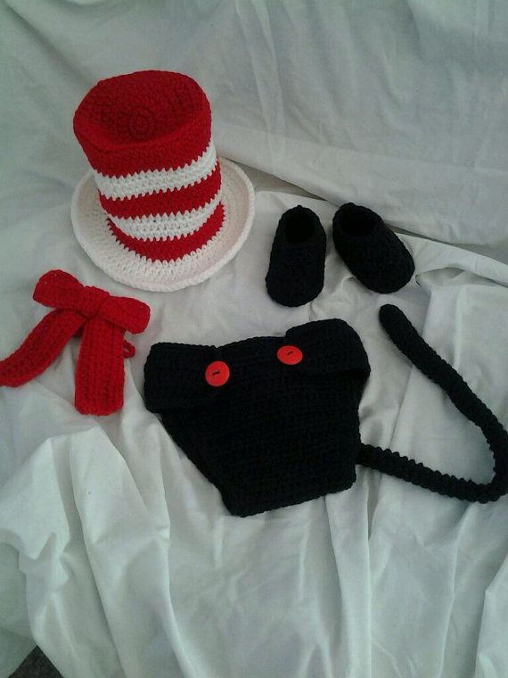 """Crocheted """"Cat in the Hat"""" inspired Baby Hat, Neck tie, and Diaper Cover Photo Prop Halloween Costume on Etsy, $36.00"""