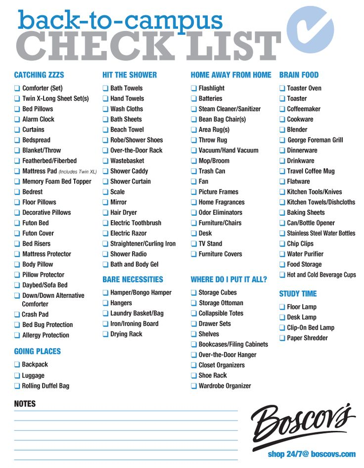 College dorm room checklist for girls-9188
