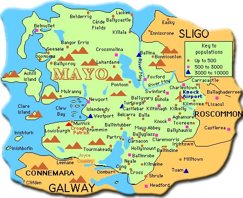 Map of Co. Mayo, also interesting webpage about a man's trip to County Mayo