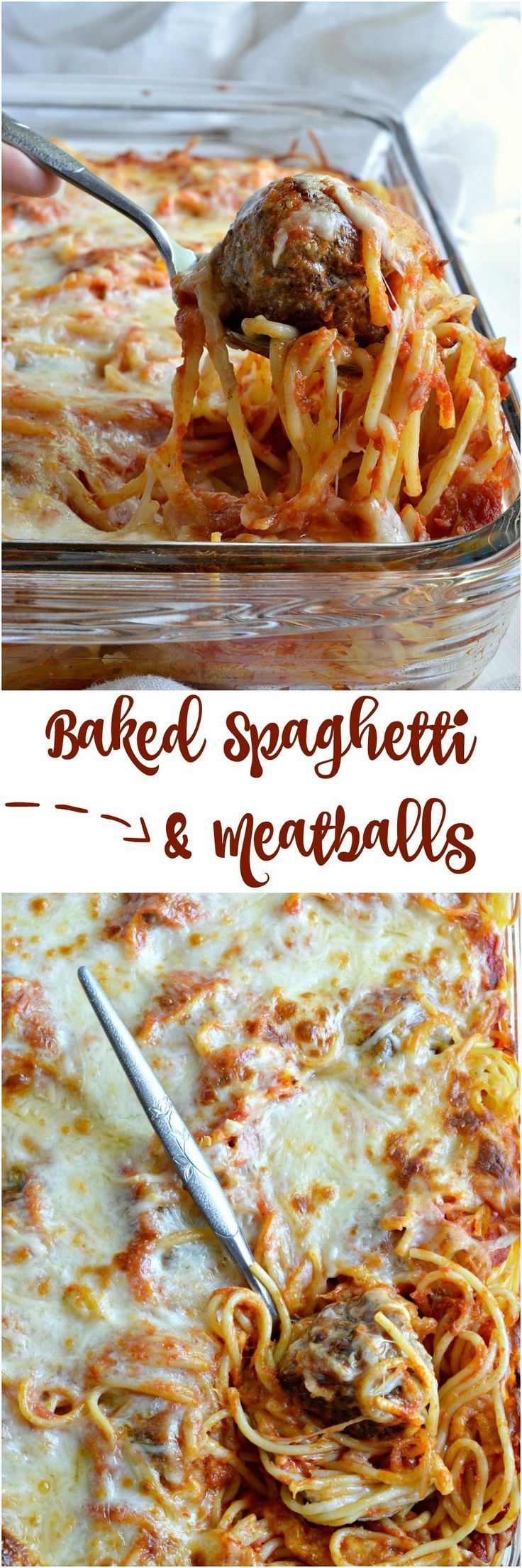 Cheesy Baked Spaghetti and Meatballs is a new fun way to serve this family favorite comfort food! Add this dinner recipe to your menu for spaghetti with a twist. A simple casserole made with layers of pasta, marinara sauce, cheese and meatballs. #ad