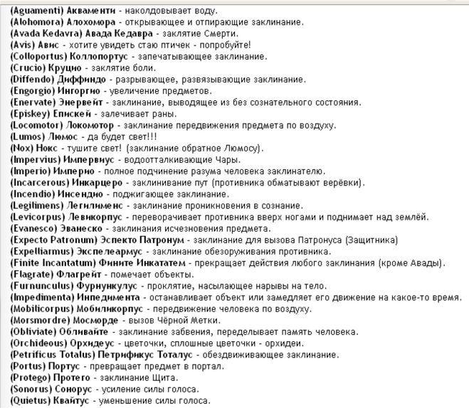 все заклинания из гарри поттера и их значение: 23 тыс изображений найдено в Яндекс.Картинках