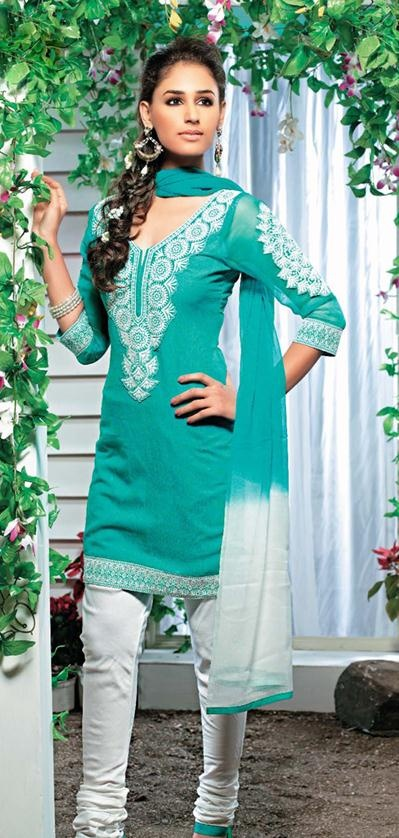 $58.38 Teal Blue Embroidery Cotton Salwar Kameez 22411