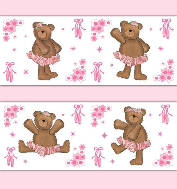 BALLERINA TEDDY BEAR Wallpaper Border Wall Decal Baby Girl Ballet Nursery Childrens Woodland Forest Animal Bedroom Dance Art Sticker Decor #decampstudios