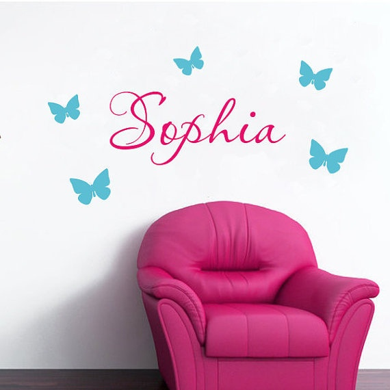 Children's Name Wall Decal- Butterfly Decals- Nurrsery Name Decals- Childrens Name Decal. $18.00, via Etsy.
