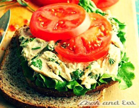 """Рецепт Сэндвич с тунцом и зеленью - Бутерброды и сэндвичи - Cook and Eat"""""""