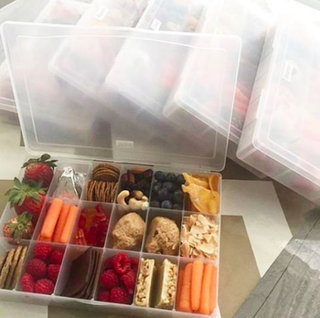 When traveling: Use crafting boxes as an easy way to carry multiple snacks.
