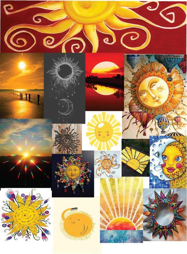 100 ways to illustrate the sun  mood board