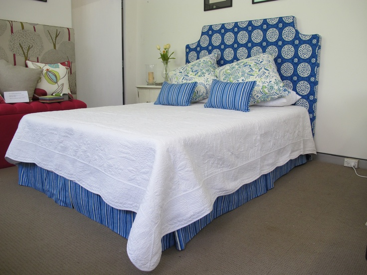 Loose cover bedhead with matching cushions and valance, and a divine french quilt from Bedhead Design