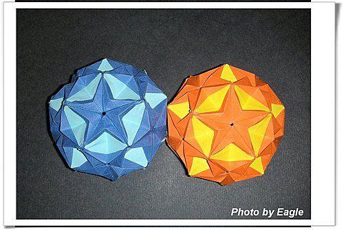 Орел Оригами: Оригами учение пентаграмма мяч Kusudamas (9 мяч)