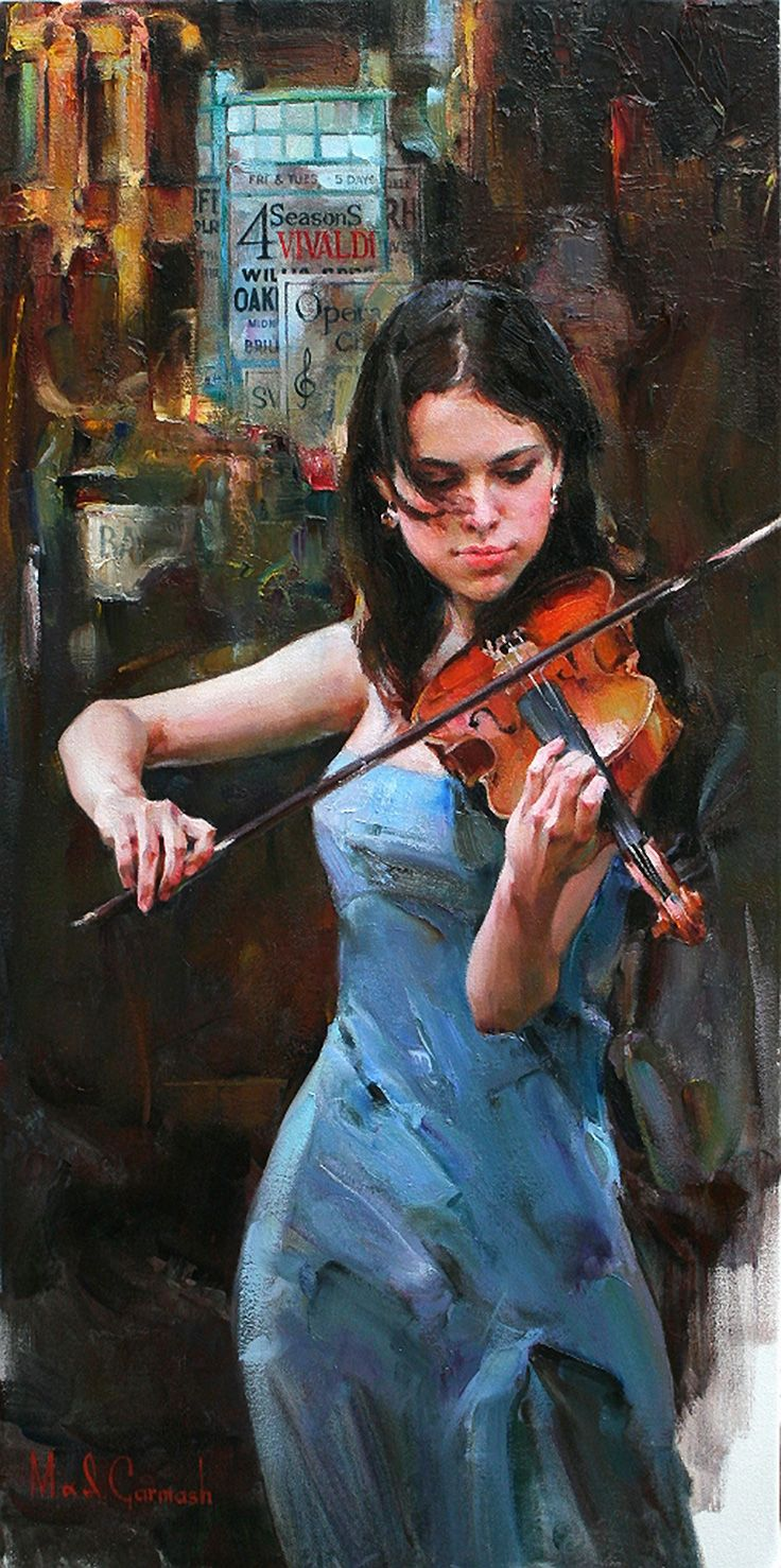 """Music of the Streets"" - Michael and Inessa Garmash, oil on canvas {contemporary figurative #impressionist art beautiful female playing violin woman in blue dress texture painting}"