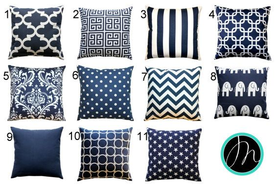 These nautical pillows can go with so many different colors! This zippered pillow cover features the shades of navy blue and white. Choose from many different decorative throw pillow choices! Cushion Cover Features: • Colors: navy and white • Fabric: 100% Cotton, medium-weight fabric • Same fabric on front and back, pattern lines up on all sides, inside edges are serged to prevent fraying • Zippered Pillow - Hidden zipper closure • PILLOW INSERT NOT INCLUDED but is available in our shop as…