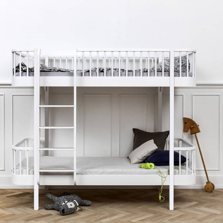 I've just found Scandinavian White Or Oak/White Bunk Bed. Stunning Scandiniavian Bunk Bed styled in white lacquer and oak         There are also optional drawers and side rails.        . £1995.00