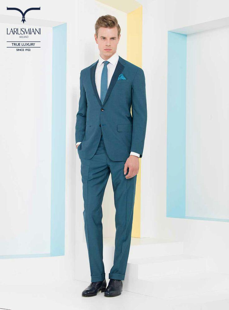 Wool/mohair handmade suit with revers in contrast - Handmade cotton shirt - Handmade seven-fold degrade' tie - Silk micropattern pocket handkerchief - Handmade leather shoes with ray skin detail  #SS2014 #fashion #style #menswear #luxury #larusmiani www.larusmiani.it