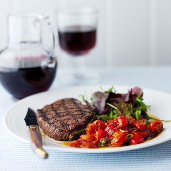 Griddled rump steaks with balsamic tomatoes recipe - Woman And Home