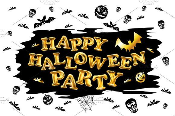 Halloween party gold balloon by Rommeo79 on @creativemarket