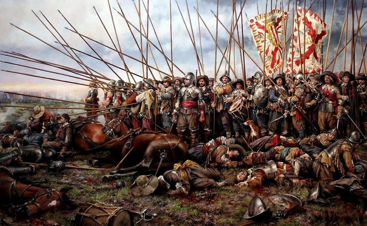 A painting of The Battle of Rocroi (1643) during the Thirty Years War. The…