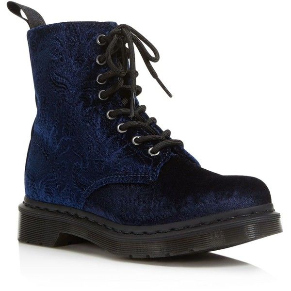 Dr. Martens Brocade Velvet Combat Booties ($130) ❤ liked on Polyvore featuring shoes, boots, ankle booties, navy, army boots, navy boots, laced booties, combat booties and military boots