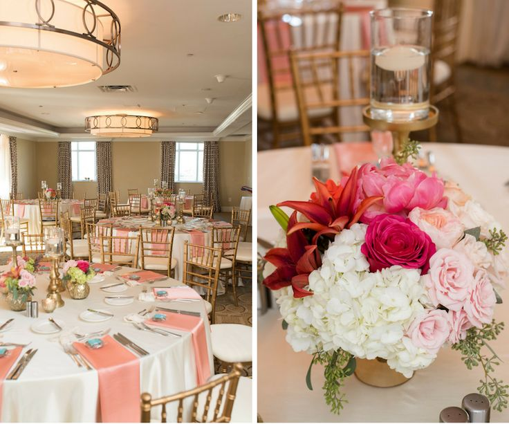 st pete wedding reception decor with gold chiavari chairs pink table napkins and - Wedding Reception Decor