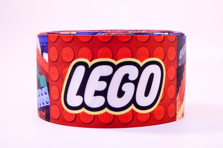 "3"" Wide Lego Toys Printed on White Grosgrain Ribbon"