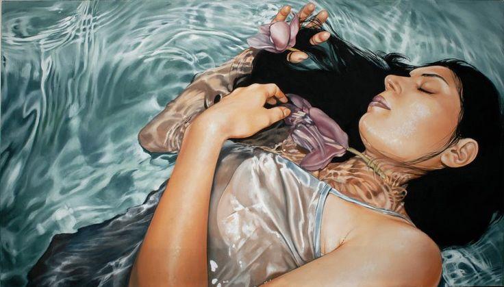 Antonella Cinelli Ofelia dipinto olio e acrilico su tela ; oil and acrylic on canvas