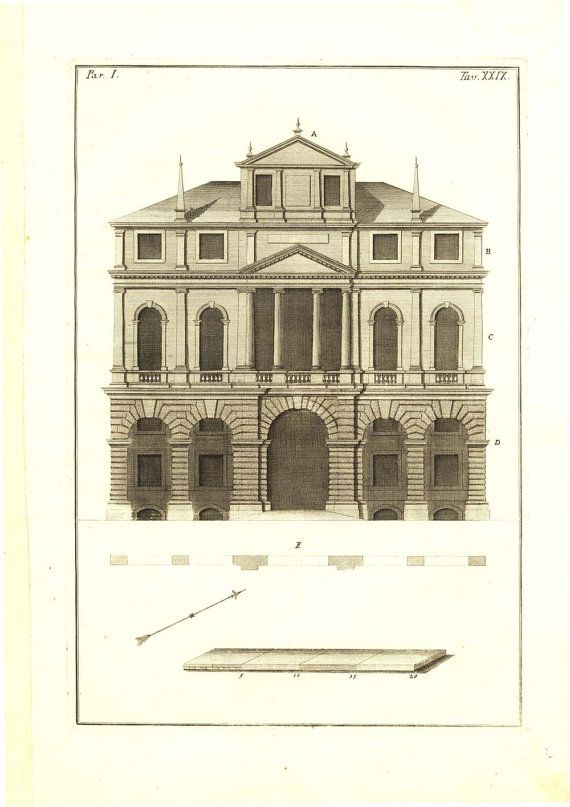Architect Drawing Andrea Palladio House 1760 by CarambasVintage, $78.00
