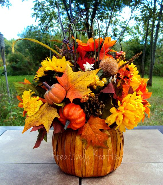 Beautiful handmade autumn fall floral pumpkin basket