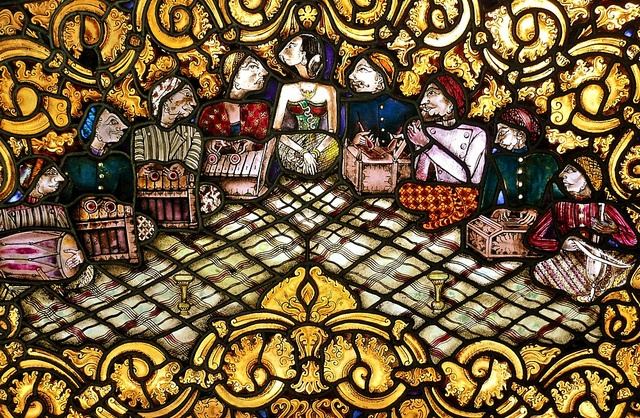Gamelan Orchestra, Stained Glass in Puri Mangkunegaran, Solo