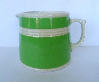 FOWLER WARE 1930's GREEN & WHITE POTTERY MILK JUG NO.30. in Pottery, Glass | eBay