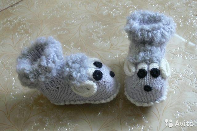 Новые вязаные пинетки носочки Овечки Голубые— фотография №3