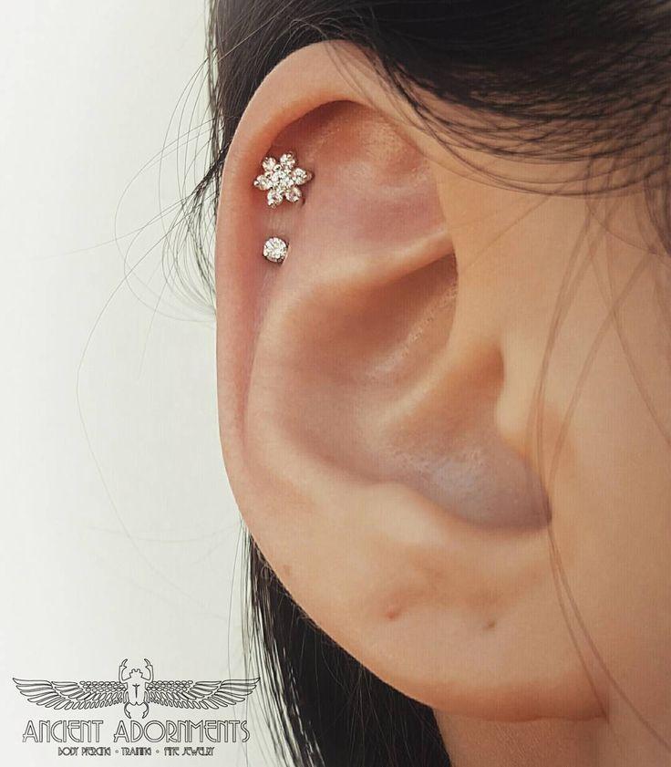Flower Helix Ear Piercing | piercings | Pinterest | Helix ... Ear Piercings Pinterest