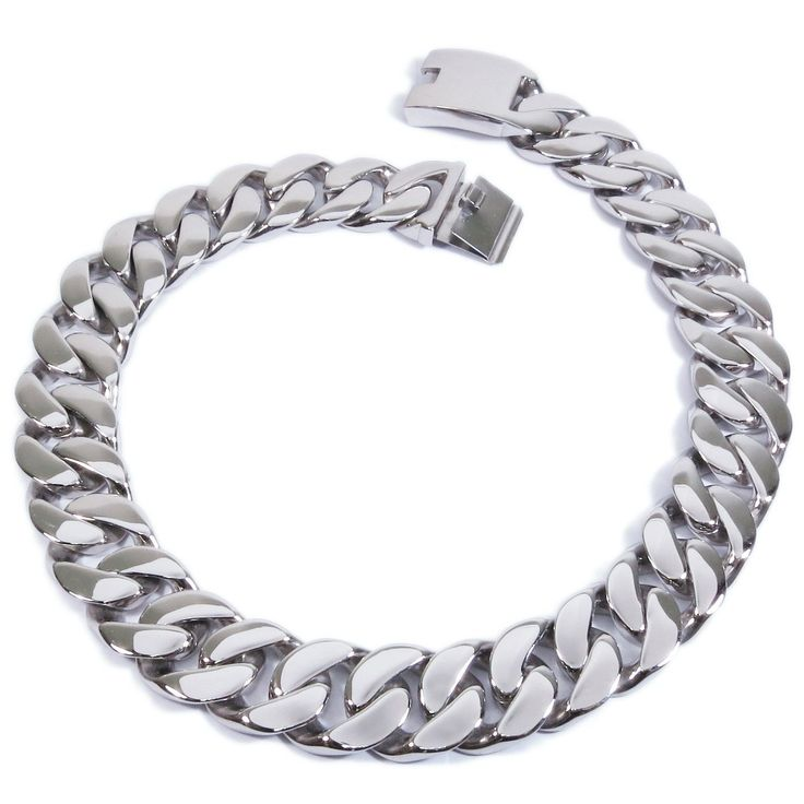 """Stainless Steel Huge Heavy Men Chain Necklace 25mm 24.8inch. One stainless steel necklace. Highly polished surface curb chain design, tongue clasp. 25mm wide. Very heavy, 21"""" chain is 400g, 24.8"""" chain is 480g. The coin in the pictures is a US quarter dollar for size reference only and not included. ** Please note that this chain is wide and heavy so order only if you want real wide and heavy chain. Thank you."""