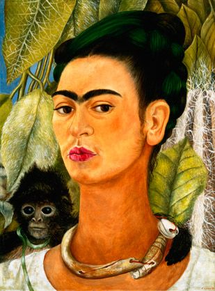Frida Kahlo often included monkeys in her paintings, as in this 1938 self-portrait, portraying them as friendly protective pets rather than symbols of lust as believed in Mexican folklore. (© Albright-Knox Art Gallery/CORBIS)