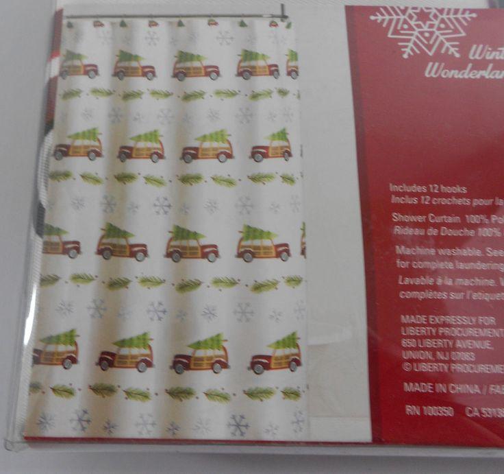 Winter Wonderland Retro Cars Christmas Shower Curtain and Hook Set #WinterWonderland