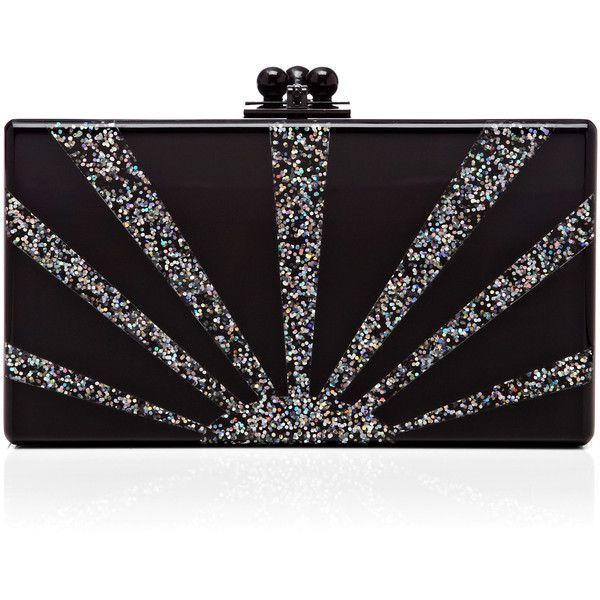 edie parker black acrylic jean clutch with silver glitter sunburst liked on