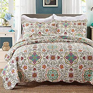 Beddingleer King Size Morocco Style 100% Cotton Quilted Bed Spread Charming Quilted Patchwork Bedspread Antique Floral Printed Reversible Quilts Set, 3-Piece, (Style#1): Amazon.co.uk: Kitchen & Home