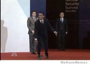 Obama skateboarding