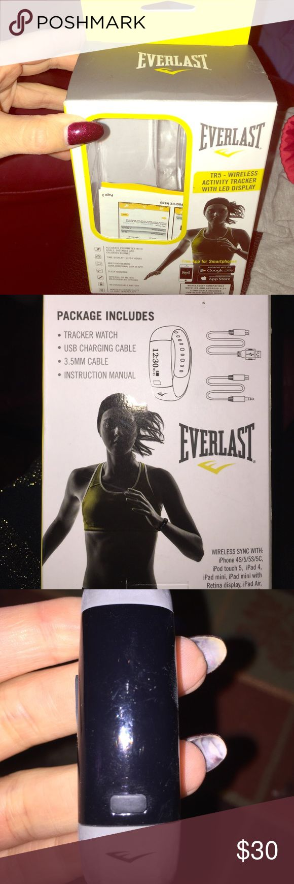 Everlast Fitbit watch Everlast fit bit exercise watch! Tracks workout, sleep pattern and much more. In good condition! Lightly used. Just needs new battery. Comes with original box and band everlast Accessories Watches